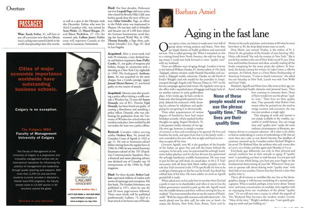 Article Preview: Aging in the fast lane, March 2001 | Maclean's