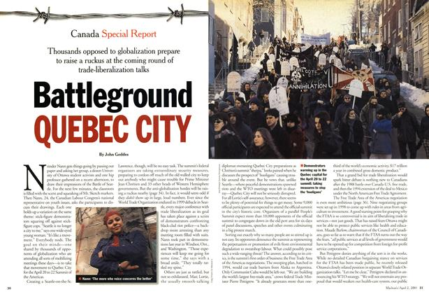 Article Preview: Battleground QUEBEC CITY, April 2001 | Maclean's