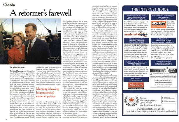Article Preview: A reformer's farewell, April 2001 | Maclean's