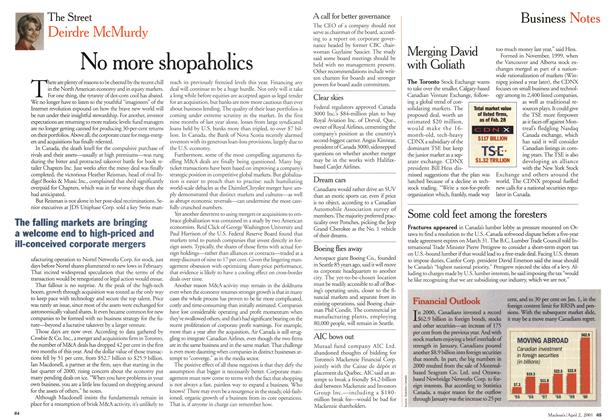 Article Preview: No more shopaholics, April 2001 | Maclean's