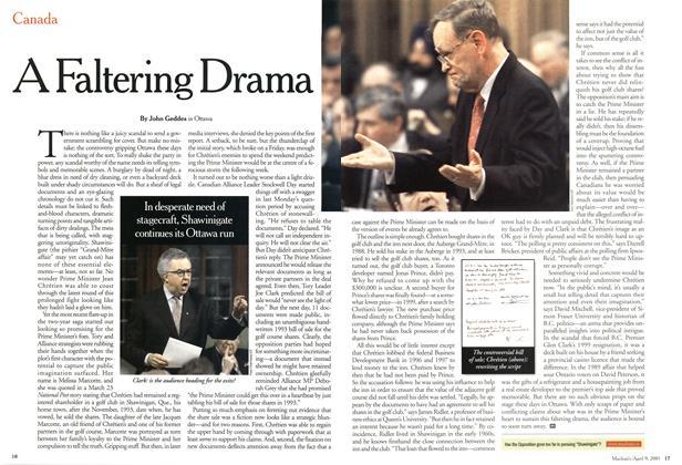 Article Preview: A Faltering Drama, April 2001   Maclean's