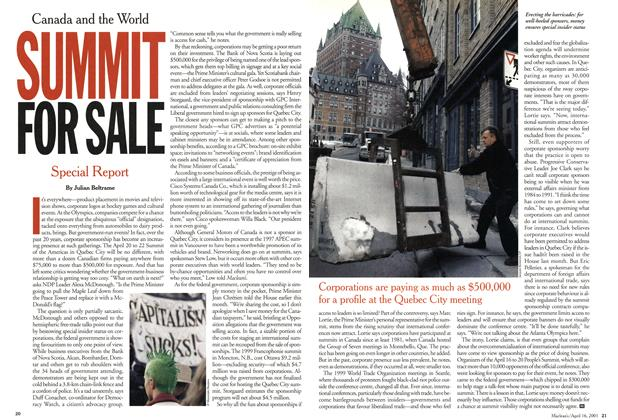 Article Preview: SUMMIT FOR SALE, April 2001 | Maclean's