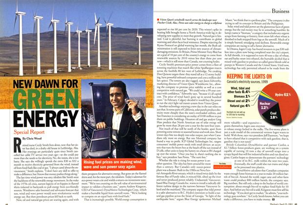 Article Preview: NEW DAWN FOR GREEN ENERGY, April 2001 | Maclean's