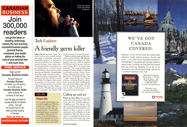 Article Preview: A friendly germ killer, April 2001 | Maclean's
