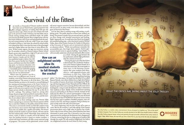 Article Preview: Survival of the fittest, April 2001 | Maclean's