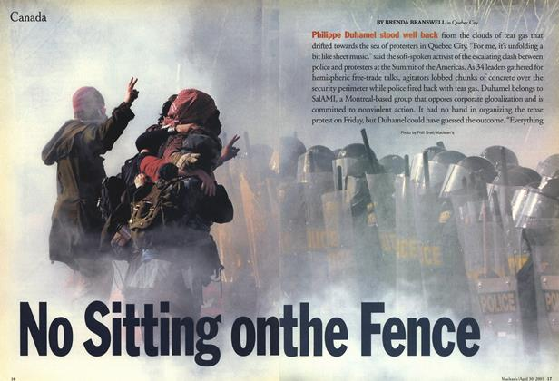 Article Preview: No Sitting on the Fence, April 2001 | Maclean's
