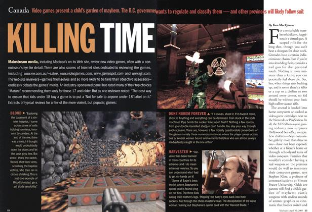 Article Preview: KILLING TIME, April 2001 | Maclean's