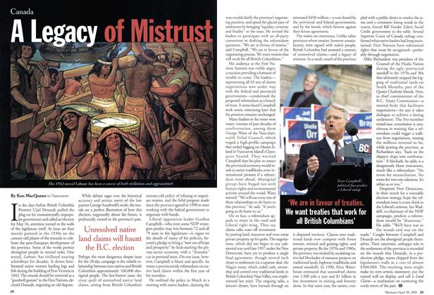 Article Preview: A Legacy of Mistrust, April 2001 | Maclean's