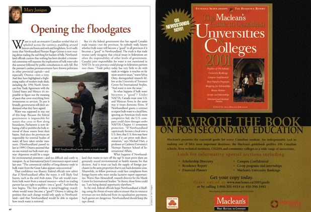 Article Preview: Opening the floodgates, June 2001 | Maclean's