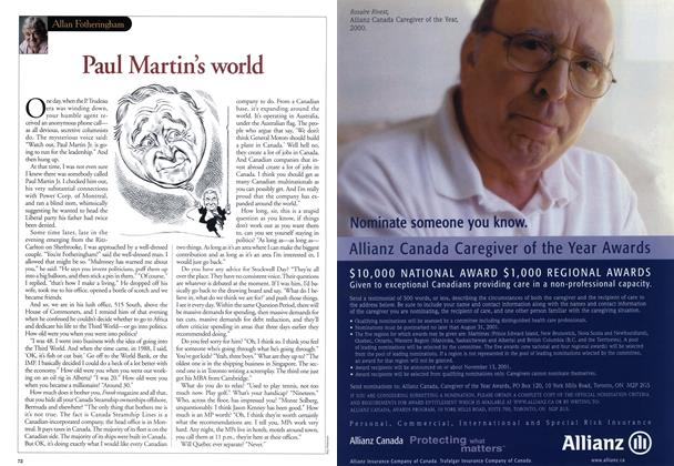 Article Preview: Paul Martin's world, June 2001 | Maclean's
