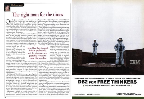 Article Preview: The right man for the times, June 2001 | Maclean's