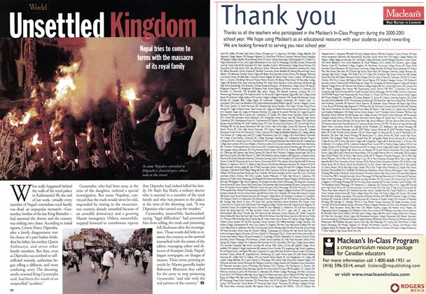 Article Preview: Unsettled Kingdom, June 2001 | Maclean's