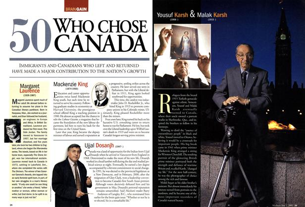 Article Preview: 50 WHO CHOSE CANADA, July 2001 | Maclean's