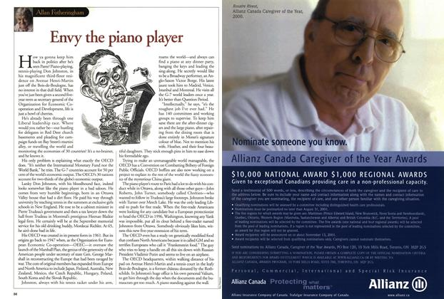 Article Preview: Envy the piano player, July 2001 | Maclean's