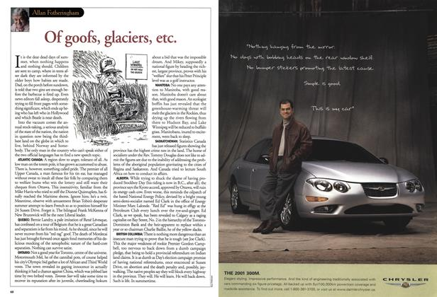 Article Preview: Of goofs, glaciers, etc., August 2001 | Maclean's