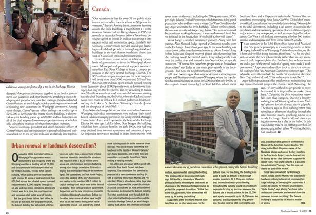 Article Preview: Urban renewal or landmark desecration?, August 2001 | Maclean's