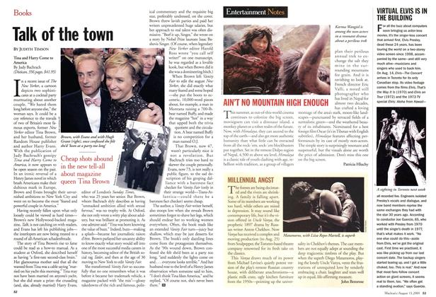Article Preview: Talk of the town, August 2001 | Maclean's