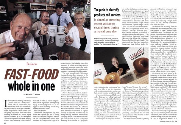 Article Preview: FAST-FOOD whole in one, August 2001 | Maclean's