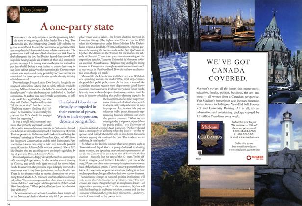 Article Preview: A one-party state, August 2001 | Maclean's