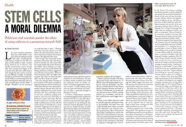 Article Preview: STEM CELLS A MORAL DILEMMA, August 2001 | Maclean's
