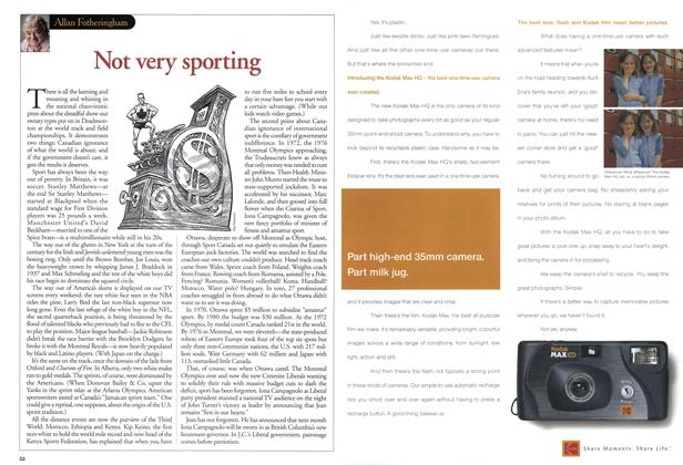 Article Preview: Not very sporting, August 2001   Maclean's