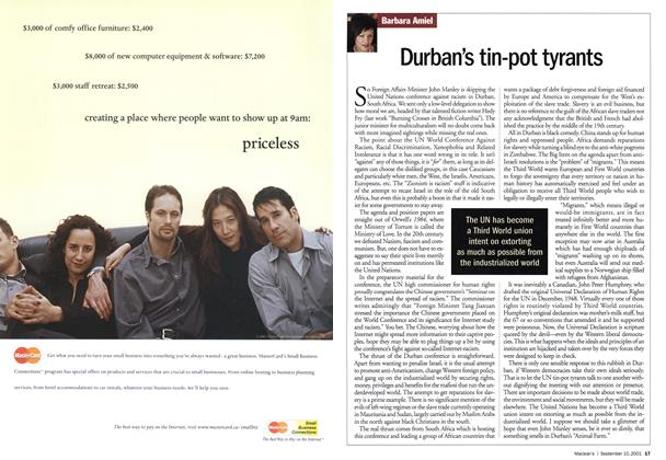 Article Preview: Durban's tin-pot tyrants, September 10,2001 2001 | Maclean's