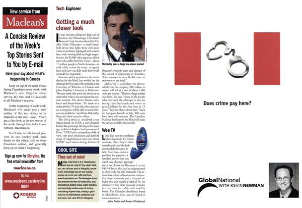 Article Preview: Getting a much closer look, September 10,2001 2001 | Maclean's