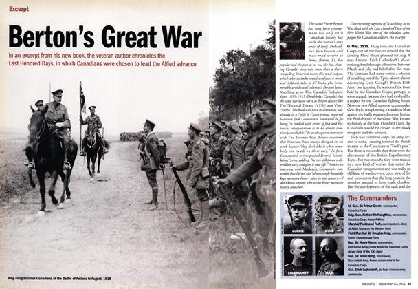 Article Preview: Berton's Great War, September 10,2001 2001 | Maclean's