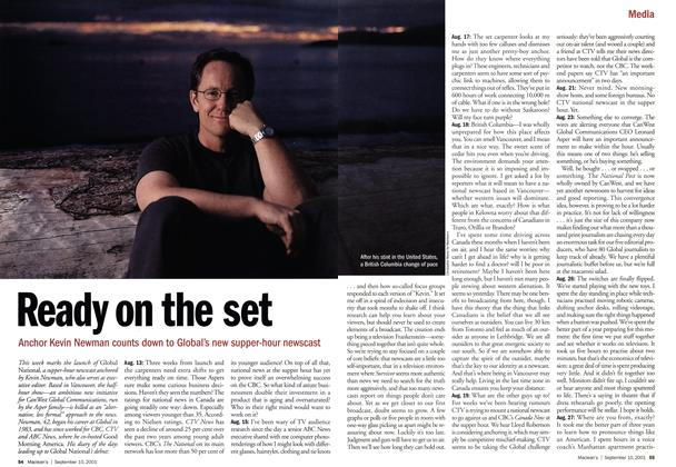 Article Preview: Ready on the set, September 10,2001 2001 | Maclean's