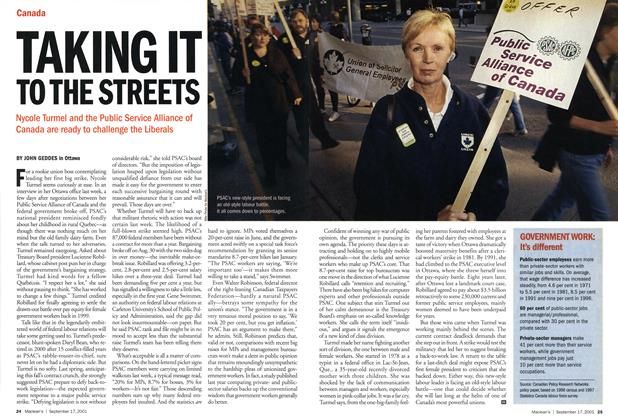 Article Preview: TAKING IT TO THE STREETS, September 2001 | Maclean's