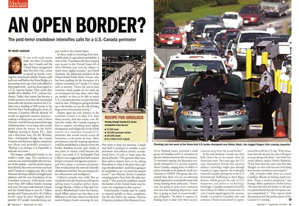 Article Preview: AN OPEN BORDER?, September 2001 | Maclean's