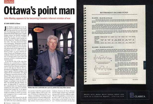 Article Preview: Ottawa's point man, October 2001 | Maclean's