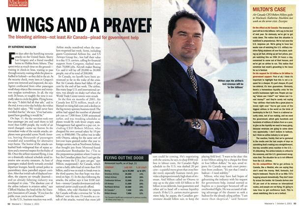 Article Preview: WINGS AND A PRAYER, October 2001 | Maclean's