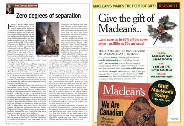 Article Preview: Zero degrees of separation, October 2001 | Maclean's
