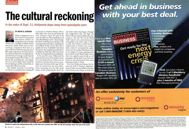 Article Preview: The cultural reckoning, October 2001 | Maclean's