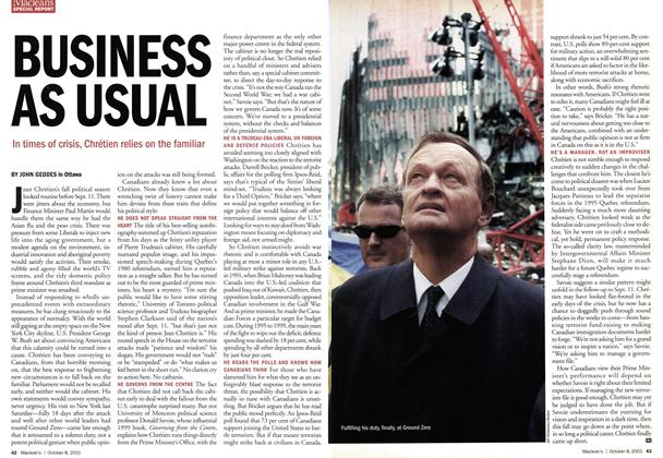 Article Preview: BUSINESS AS USUAL, October 2001 | Maclean's