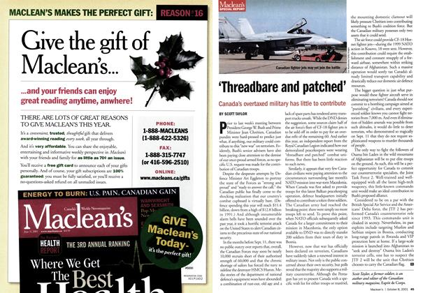 Article Preview: 'Threadbare and patched', October 2001 | Maclean's