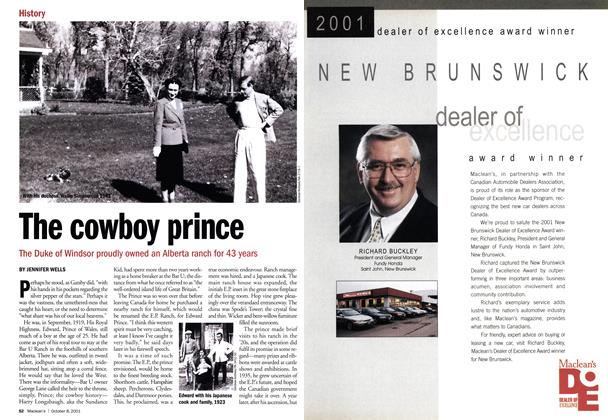 Article Preview: The cowboy prince, October 2001 | Maclean's