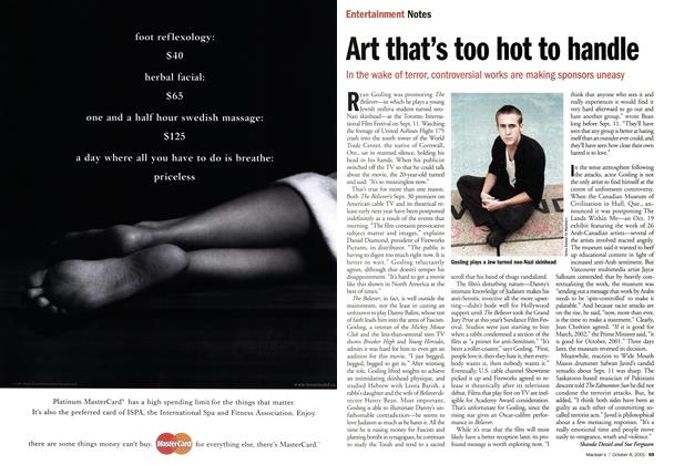 Article Preview: Art that's too hot to handle, October 2001   Maclean's