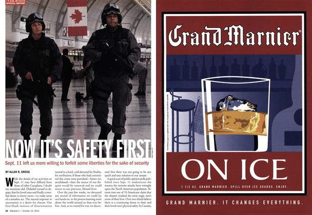 Article Preview: NOT IT'S SAFETY FIRST, October 2001 | Maclean's