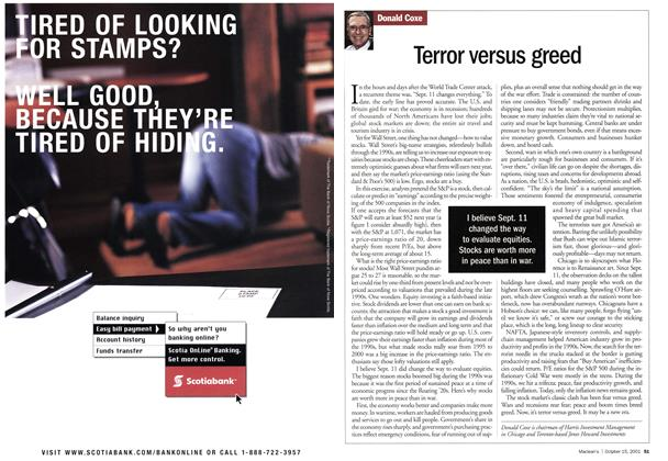 Article Preview: Terror versus greed, October 2001 | Maclean's