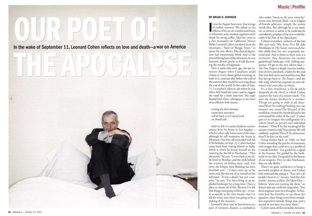 Article Preview: OUR POET OF THE APOCALYPSE, October 2001 | Maclean's