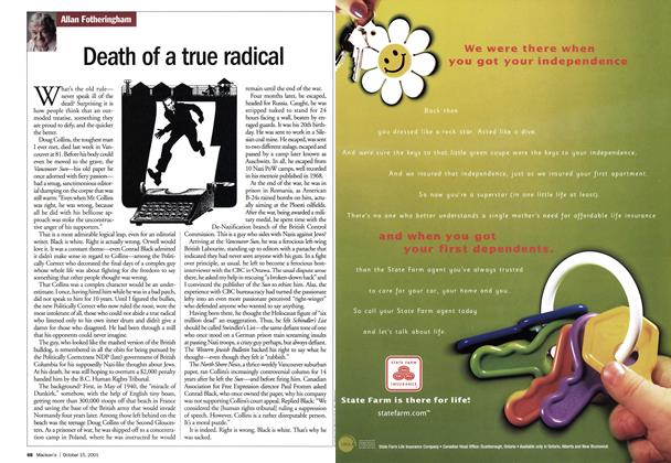 Article Preview: Death of a true radical, October 2001   Maclean's