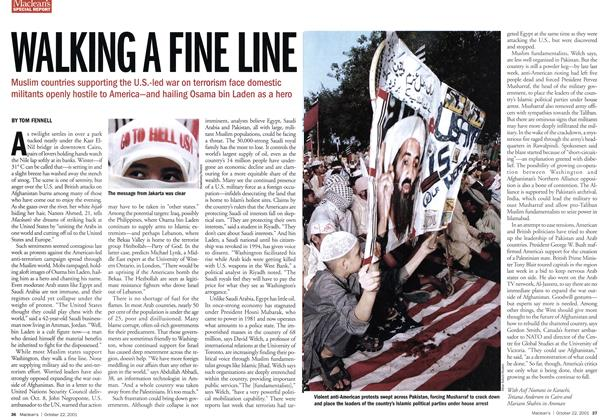 Article Preview: WALKING A FINE LINE, October 2001 | Maclean's