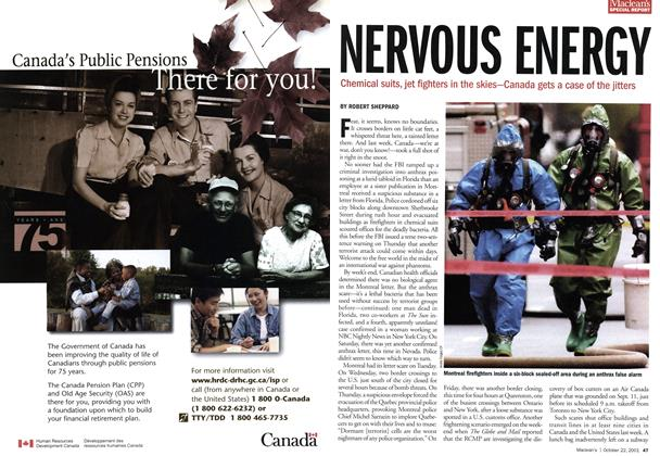 Article Preview: NERVOUS ENERGY, October 2001 | Maclean's
