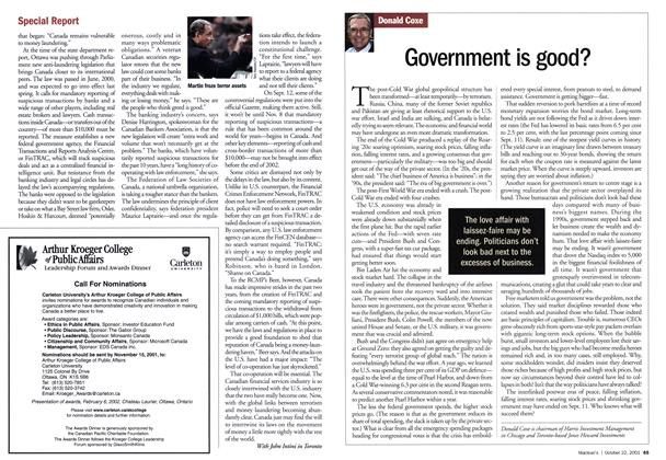Article Preview: Government is good?, October 2001 | Maclean's