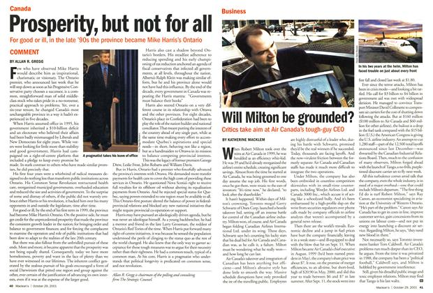 Article Preview: Prosperity, but not for all, October 2001 | Maclean's