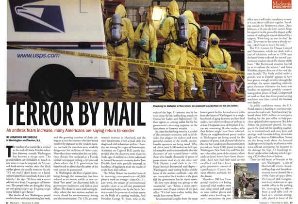 Article Preview: TERROR BY MAIL, November 2001 | Maclean's