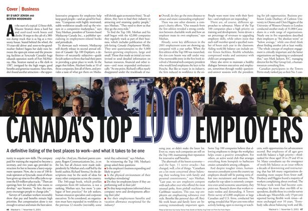 Article Preview: CANADA'S TOP 100 EMPLOYERS, November 2001 | Maclean's
