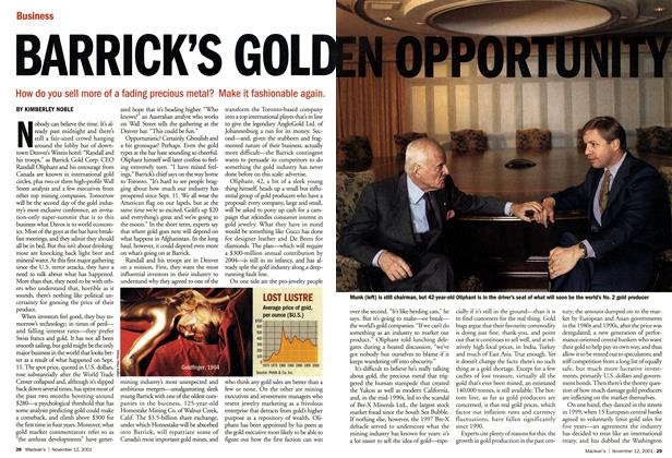 Article Preview: BARRICK'S GOLDEN OPPORTUNITY, November 2001 | Maclean's